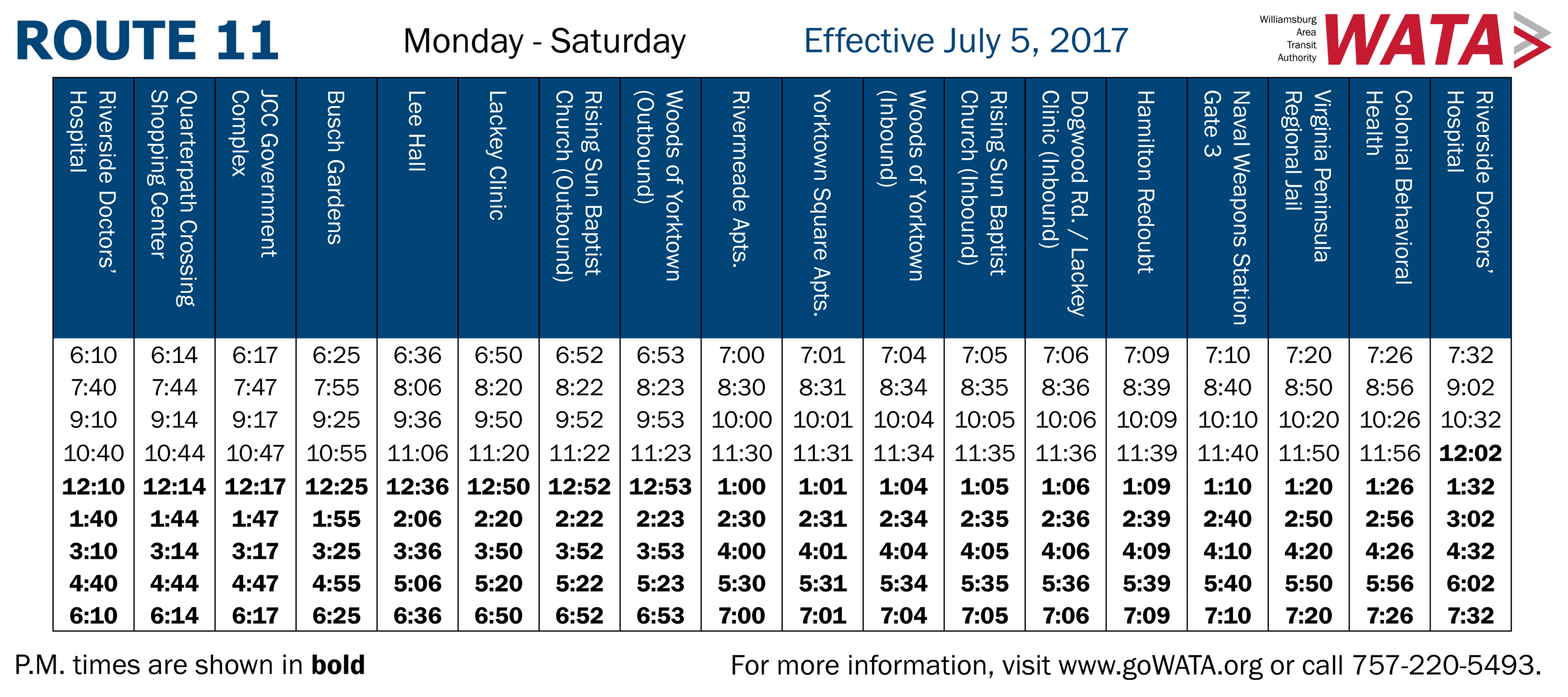 Route 11 Schedule